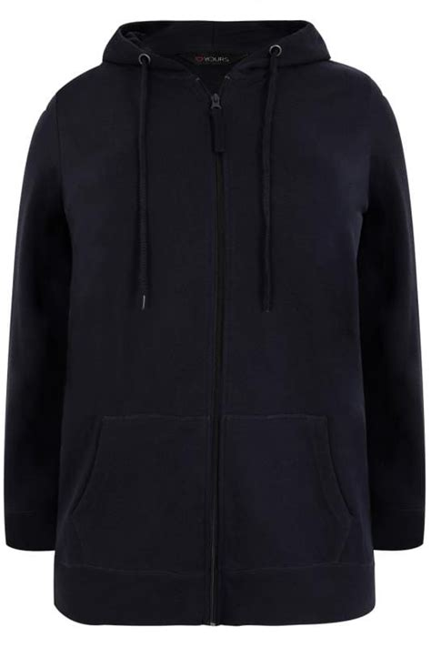 Jaket Sweater Hoodie Hoodie Form Is Temporary Home Cloth 1 navy zip through hoodie with pockets plus size 16 to 36