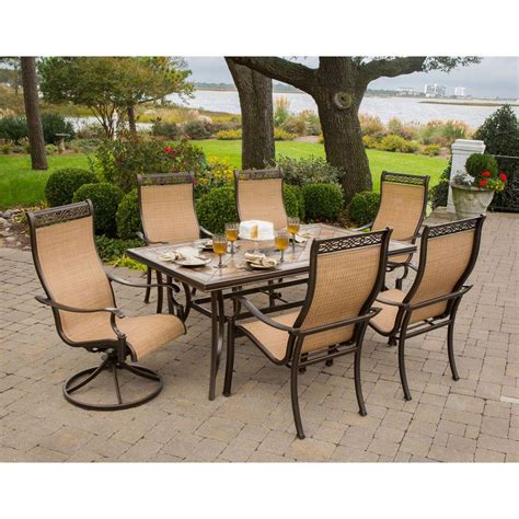 patio dining set 7 hanover monaco 7 outdoor patio dining set monaco7pcsw the home depot