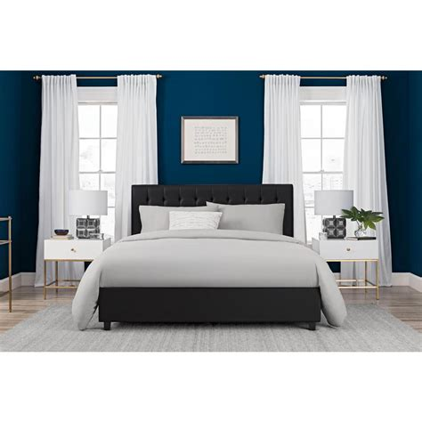bed full size dhp emily black upholstered faux leather full size bed