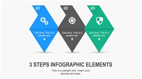 graphic design key elements 3 steps needle infographic elements for powerpoint