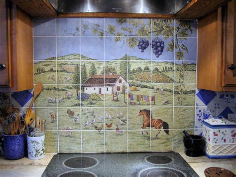 hungarian european farm home backsplash painted tile mural