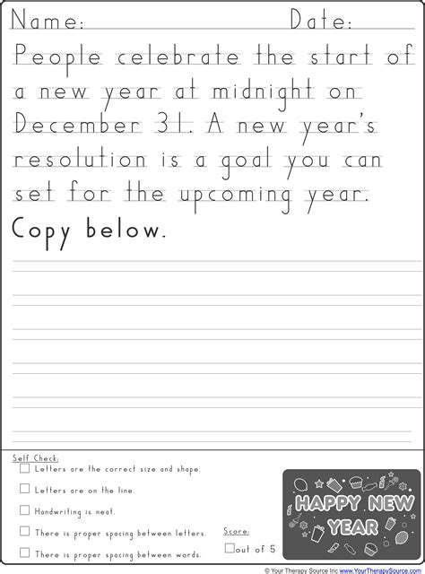 new year writing for kindergarten new year handwriting practice your therapy source