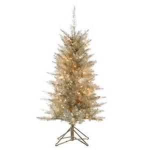 home depot artificial trees 4 ft pre lit platinum tinsel artificial