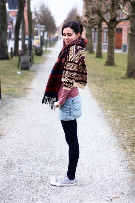 chic cropped sweater denim mini skirt the