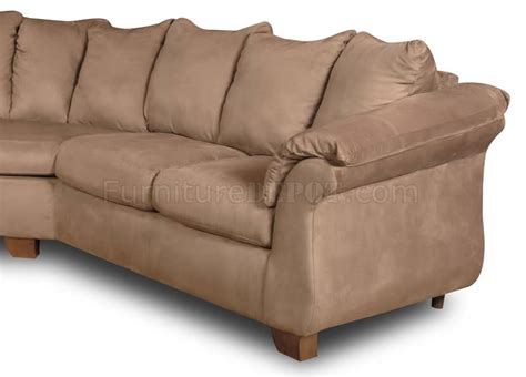 Modern Microfiber Sectional Sofas Camel Microfiber Modern Sectional Sofa W Flared Pillow Arms