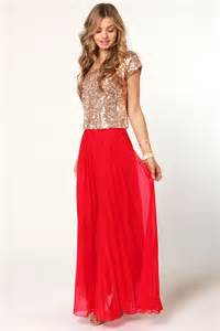 pleat tectonics pleated red maxi skirt gold sequin dress