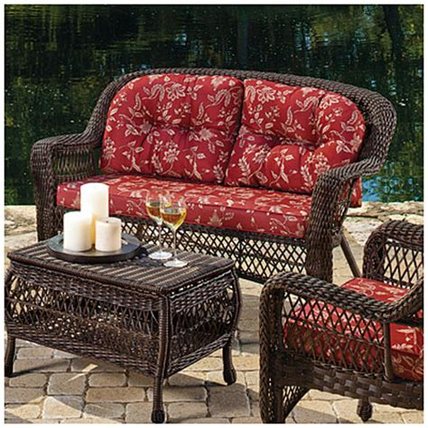View Wilson Fisher 174 Savannah Resin Wicker Cushioned Sofa Wilson And Fisher Wicker Patio Furniture
