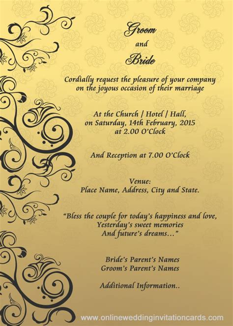 Wedding Invitation Card Format by Wedding Invitation Designs Templates Search
