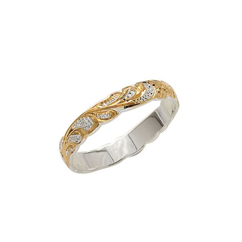 4mm yellow gold plated two tone cut out edge ring