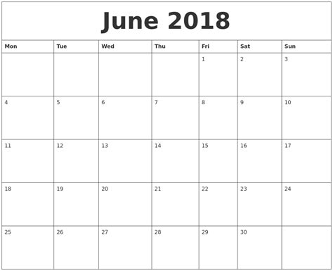 printable monthly calendar free june 2018 print monthly calendar