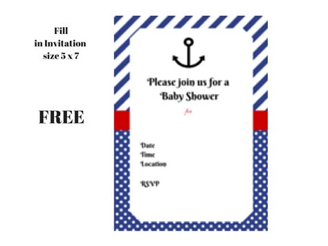 Nautical Baby Shower Printables Free by Free Nautical Baby Shower Printable Invitation Nautical