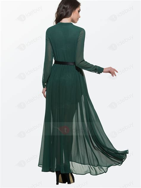 Robe Col Montant - robe longue verte col montant manches longues tidebuy