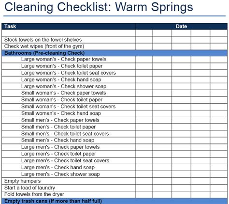 images  commercial cleaning checklist template