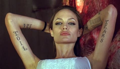 angelina jolie tattoo in wanted movie 20 amazing angelina jolie tattoos pictures hative