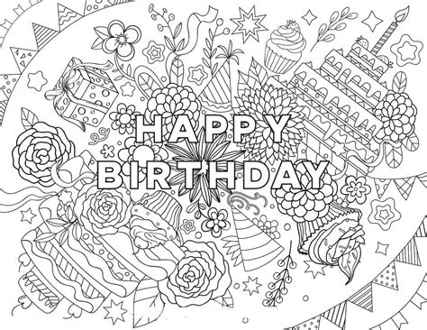 merry coloring books for adults a beautiful colouring book with designs gift for books 25 free printable happy birthday coloring pages