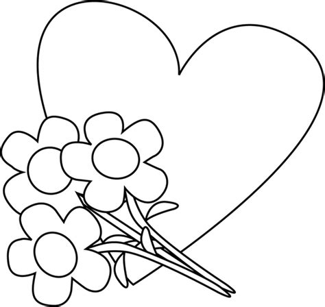 valentines day black and white black and white s day and flowers clip