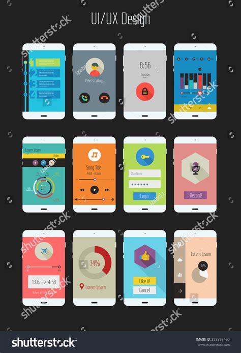 mobile app template design flat design uiux mobile application templates stock vector