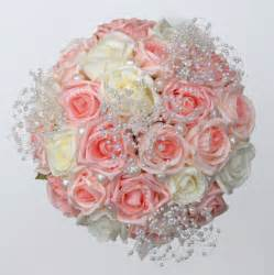 pink amp ivory rose wedding bouquet with crystal amp bead flowers sarah s flowers