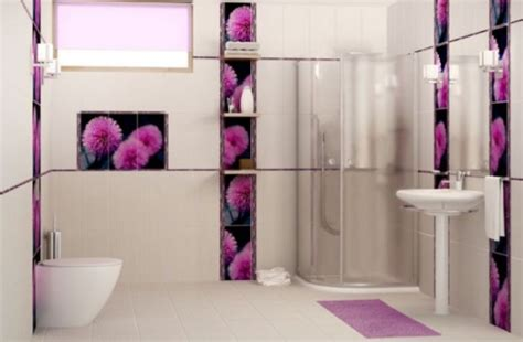 Purple And White Bathroom Brighten Up Your Bathroom With Most Eye Catching Bright Color And Illumination Decorating