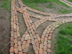 reclaimed brick garden path under constructions dirt