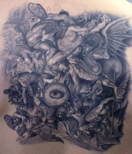 fighting angel tattoo designs cat tattoos fighting demons