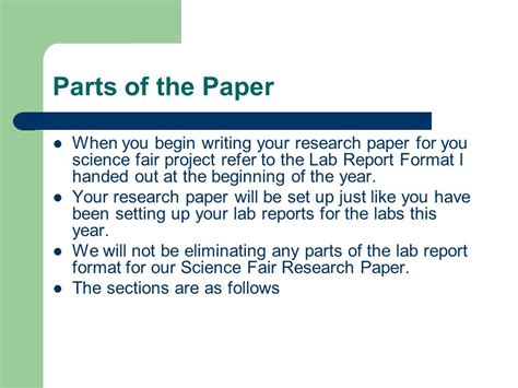 parts of a thesis research paper science fair research paper ppt