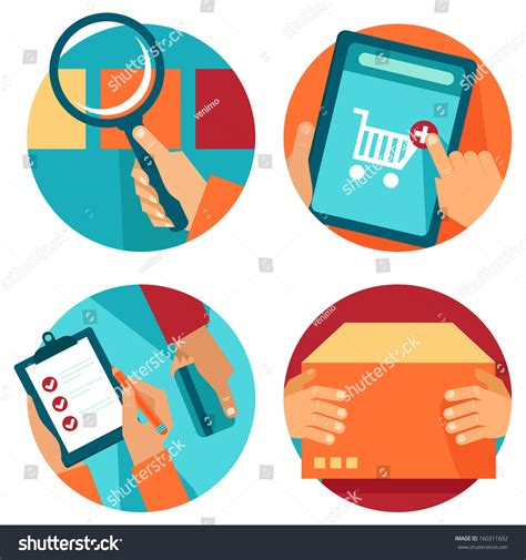 Search Order Vector Shopping Icons Flat Style Stock Vector 160311692