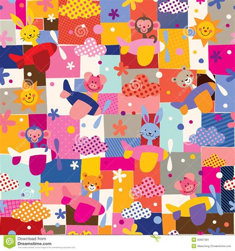 cute kid pattern cute animals in airplanes collage kids pattern stock