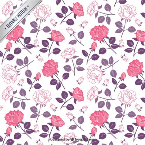 pattern pink rose vetor roses pattern in pink and purple tones vector free download