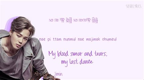 bts blood sweat and tears lyrics bts blood sweat tears han rom eng color codes lyrics