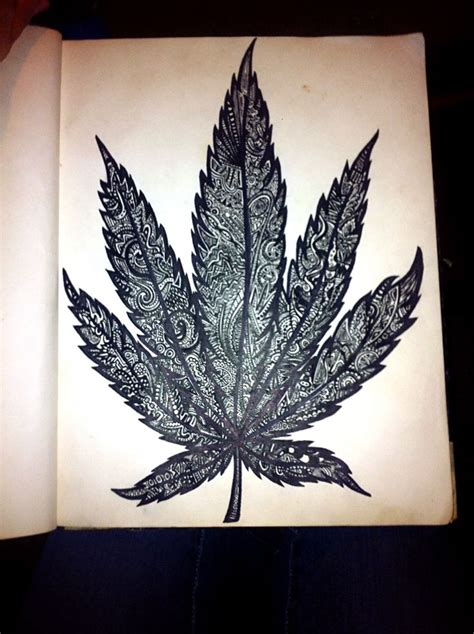 pot leaf tattoo designs sharpie drawing leaf my creations