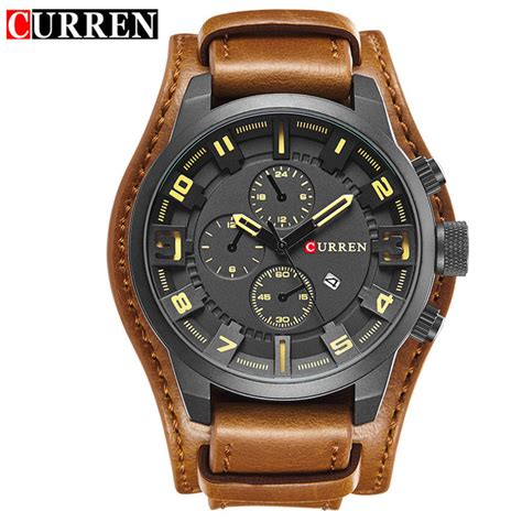 Jam Tangan Curren Analog Pria Cowok Casual Sport Grosir Murah Terbaru curren jam tangan analog pria mk54 yellowish brown jakartanotebook