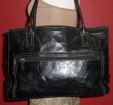 Fossil Totte Big Size Bag In Bag vintage fossil black leather large laptop carryall attache tote shoulder bag ebay