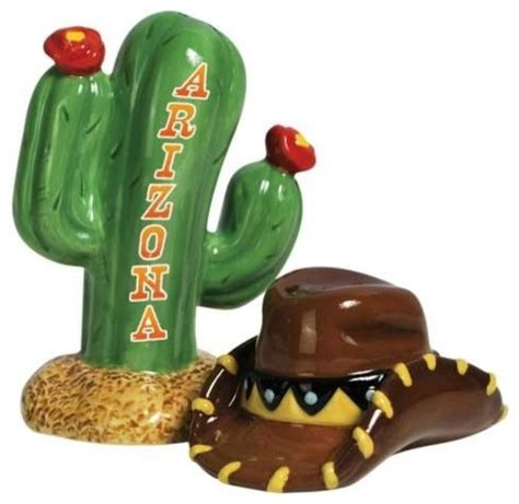 yellow salt and pepper shakers and mills houzz 4 25 inch arizona inspired cactus and hat salt and pepper