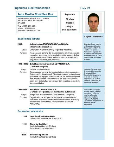Modelo De Curriculum De Hosteleria modelo de curriculum vitae laboral modelo de curriculum