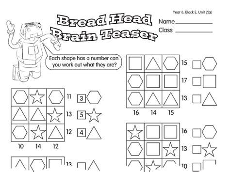 printable maths puzzles year 6 breadhead brain teaser a year 6 puzzles worksheet