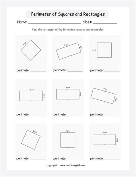 printable shapes to measure perimeter 100 perimeter math worksheets measure the perimeter