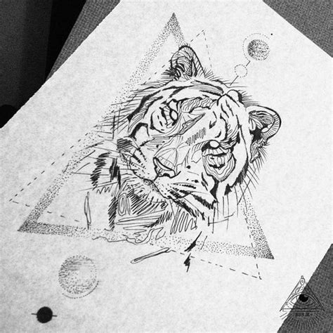 geometric tiger tattoo geometric tiger black work by broken ink broken