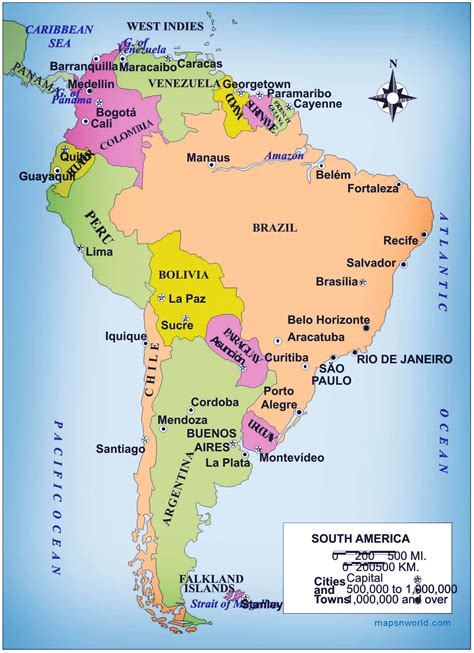 map of south south america map