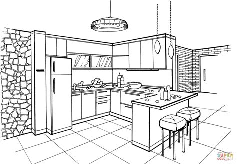 coloring page of a kitchen coloring sheet kitchen