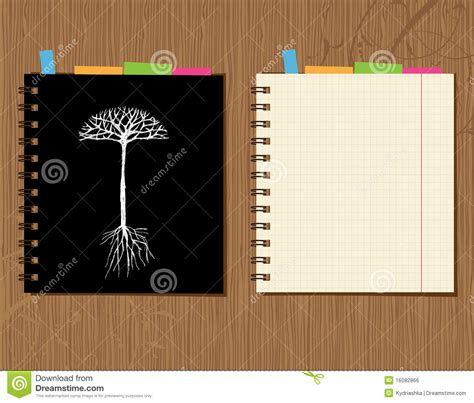 design cover laptop notebook cover and page design wooden background stock