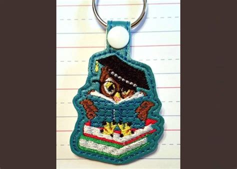 Ideas For Home Decor Bookowl Key Fob Machine Embroidery Pattern