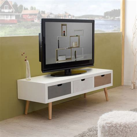 Meuble télé avec 3 tiroirs en mdf blanc et pin 120x40xH38