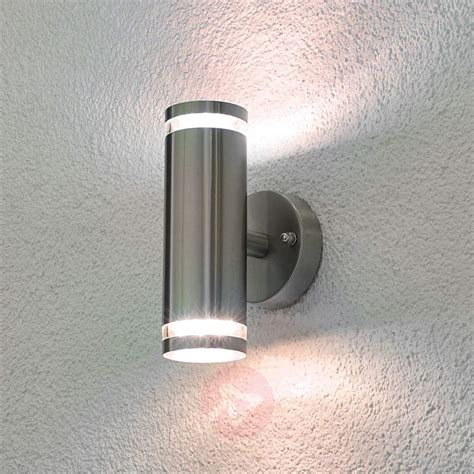 led garden wall lights tiberus stainless steel led outdoor wall light lights co uk