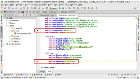 android layout xml portrait landscape android er android studio color chooser when edit color