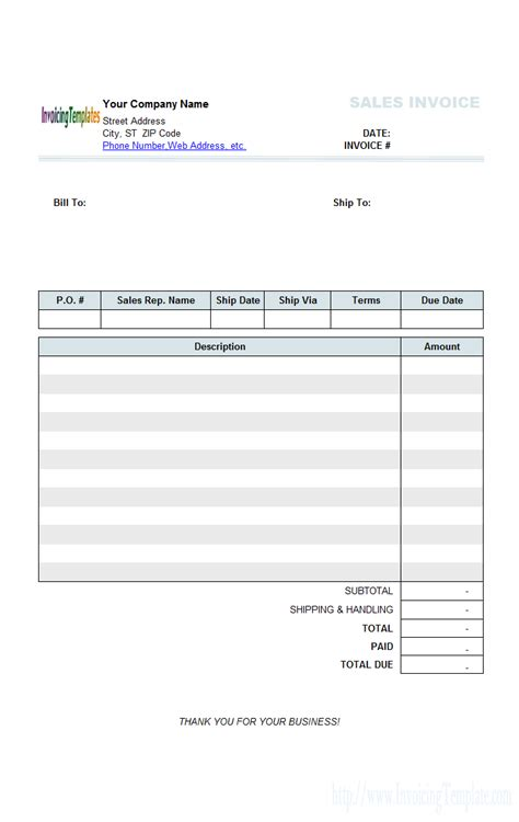 invoice template xls free download all templates deal