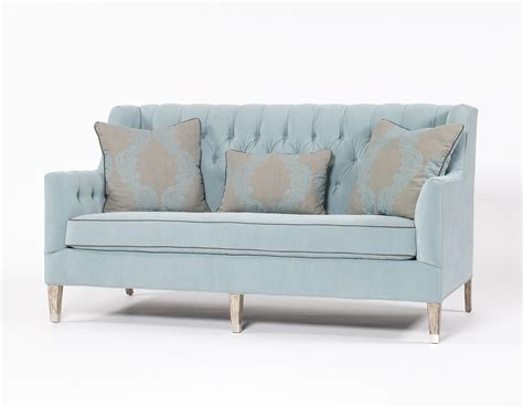 traditional settee traditional sofa tufted blue three person couch