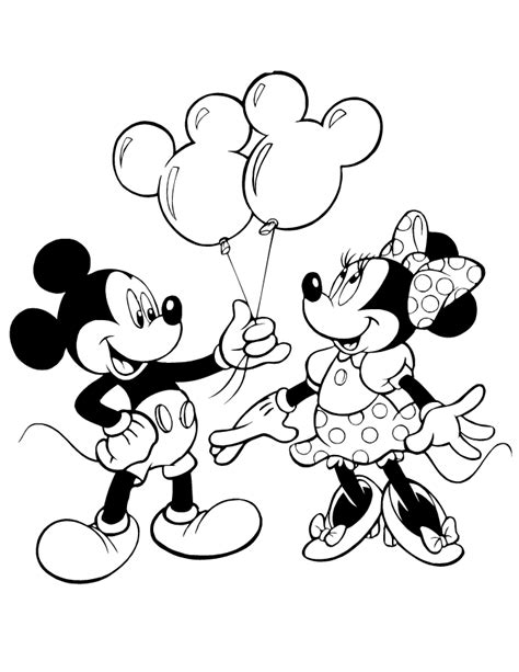 mickey giving minnie mouse balloons coloring page h m