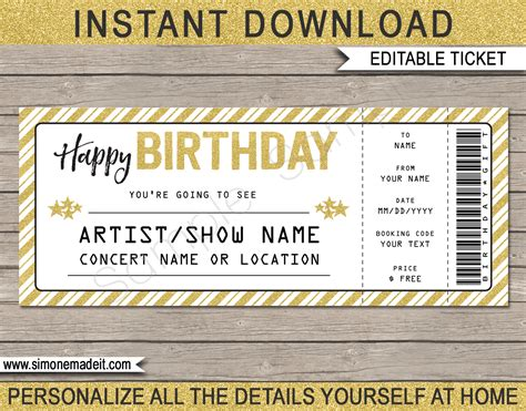 birthday ticket template concert ticket birthday gift template printable concert