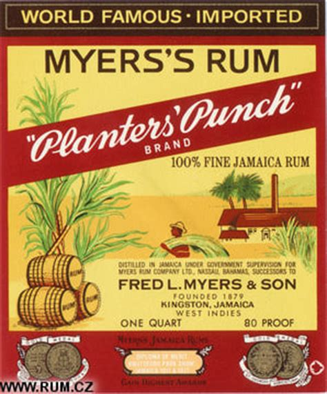 Myers Planters Punch by S Rum Labels Fred L Myers Ltd Jamaica